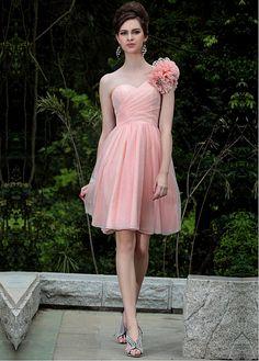 2721ba77bd In Stock Stunning Composite Filament Sliver   Transparent Net A-Line One  Shoulder Neckline Short Prom Dress