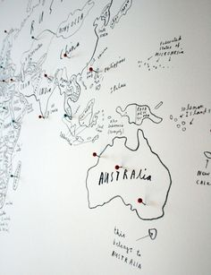 Almost ten years since we were down under. 'World map with pins' by Oliver Jeffers