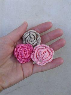 Kit 30pcs crochet flowers/crochet roses/shabby rose/headband