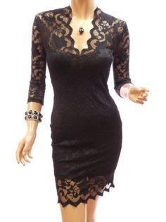 Patty Women Elegant Black V Neck Floral Lace 3/4 Sleeve Cocktail Party Mini Dress