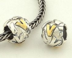 CLLE03SV 925 Sterling Silver Alphabet letter V Pandora Charms beads Pandora Letters