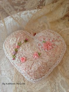 Mixed lace heart with ribbon accents