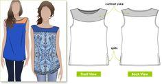 Sleeveless tunic with yoke and side splits - no pattern - imagination.
