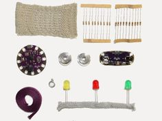 Soft Circuit Basics Kit from Plug and Wear - all you need to start, one microcontroller, power supply, and textile sensors. Make your project and sew it on your shirt or sofa, or any fabric you find. Perfect tool for workshops  (february 2013)