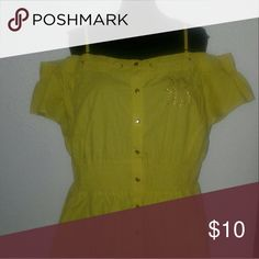 """NWOT Roca Wear Yellow Mini Dress 2x NWOT,  never worn, stored for years and recently washed.  Gorgeous bright yellow color with gold buttons down the front and elastic waist.  There is also a gold embellished Roca Wear """"R"""" decal on left breast of the dress. Off shoulder style with adjustable straps. Rocawear Dresses Mini"""