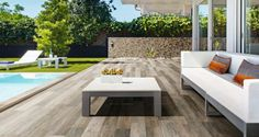 Italtile: How Cool is Your Pool? Outdoor Wood Tiles, Outdoor Porcelain Tile, Porcelain Wood Tile, Patio Tiles, Deck Tile, Front Wall Tiles Design, Wood Wall Tiles, Wood Tile Floors, Flooring