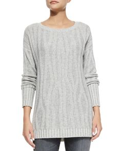 Vince Oversized Long-Sleeve Car Coat, Waterfall Ribbed Long-Sleeve Sweater & Riley Skinny-Fit Denim Jeans