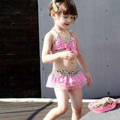2015 New Summer Style Bikini Girls Cute Pink Leopard Print Swimwear 5 Size Lolita Style Baby Girl Kids Children Clothes 2pcs/set