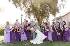 wedding purple and orange Light Purple Wedding, Lilac Wedding Flowers, Blue Suit Wedding, Groomsmen Attire Purple, Groomsmen Grey, Bridesmaids And Groomsmen, Wedding Outfits For Groom, Wedding Attire, Wedding Themes