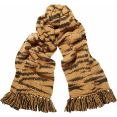Mulberry Tiger-striped angora-blend scarf ($195) ❤ liked on Polyvore featuring accessories, scarves and tassel scarves