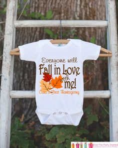 efb9e4896371b Fall In Love With Me - Autumn Leaves Onepiece - First Thanksgiving Outfit  for New Baby Boy or Baby Girl - Baby s First Thanksgiving Keepsake