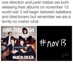 Let's get #MadeInTheAM to top the charts and keep the Beliebers below us. We have to, it's 1D's last album before their break, they deserve a good rating on it