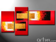 Cuadro decorativo tonos rojos y dorados