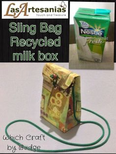 Sling Bag (Recycled milk box) - Check link and add Las Artesanias to view more hand crafted products. https://www.facebook.com/LaArtesano