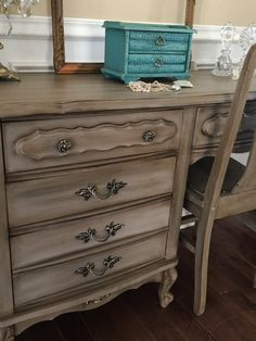 Items similar to SOLD Vintage French Provincial Vanity Annie Sloan Coco Pick Up Only on Etsy Refurbished Furniture, Upcycled Furniture, Shabby Chic Furniture, Furniture Makeover, Diy Furniture, Waxing Furniture, Furniture Update, Annie Sloan, Tv Stand Makeover
