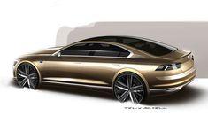 Volkswagen C Coupe GTE Concept Design Sketch Render - Car Body Design