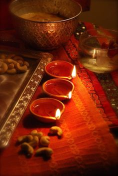 Table decoration on Diwali... - loved & pinned by www.omved.com