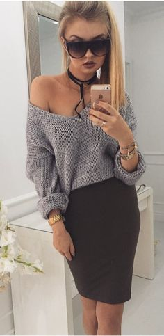 black and grey outfit