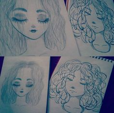 Two styles of drawing - girl's faces - curly hair