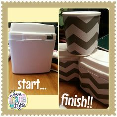 Turn baby formula containers into cute supply or storage container.