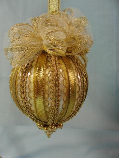 Handmade Christmas Tree Ornament Brilliant Gold Trims, Beads and Bows