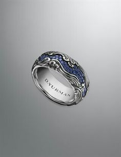 Sapphire men's wedding band