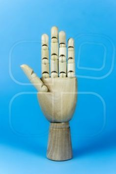 hand wood, wooden hand, five fingers, blue background