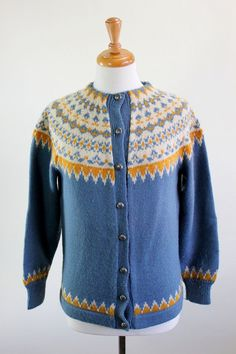 1960s Light Blue Yellow Cream Nordic Design Wool Cardigan Sweater. Folk. Woodland. Ski Lodge. Norwegian. Size Large.