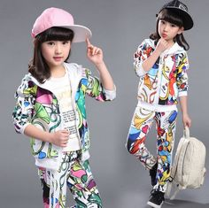 الفتيات ملابس اطفال بنات طقم ملابس رياضية الربيع الخريف معطف جاكيتات + السراويل…