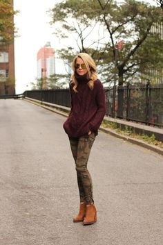 camo pants and burgandy sweater