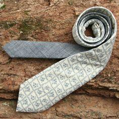 Vintage 1970s Lattice Floral & Japanese Indigo Chambray Necktie - vintage ties handmade in the United States