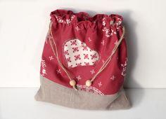 Pochon Noël en lin naturel et coton rouge imprimé : Autres sacs par lin-temporelle