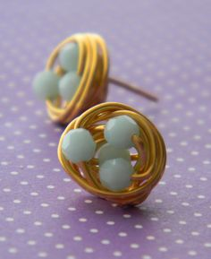 Gold Wire Wrapped Opaque Mint Green Swarovski Bead Cluster Stud Earrings, Small Mint Green Faceted Swarovski Birds Nest Post Earrings. $15.00, via Etsy.