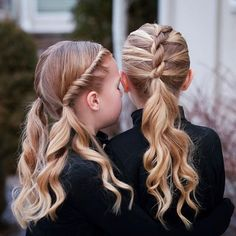 Twists and curly ponytails! Hallie wanted pigtails & Bright wanted one low ponytail! ❤ Twists and curly ponytails! Hallie wanted pigtails & Bright wanted one low ponytail! Pretty Braided Hairstyles, Pigtail Hairstyles, Dance Hairstyles, Short Hair Updo, Easy Hairstyles, Long Hair, Updo Hairstyle, Thin Hair, Curly Hair