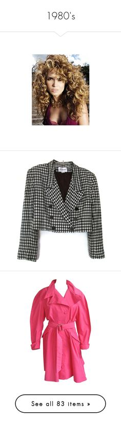 """""""1980's"""" by reelinda ❤ liked on Polyvore featuring curl, outerwear, jackets, blazers, coats & jackets, black and white plaid jacket, plaid blazer, blazer jacket, black and white houndstooth blazer and vintage jackets"""