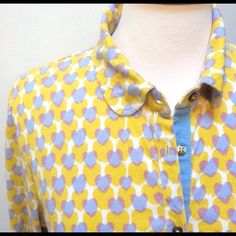 Boden Button Down Shirt Feels like a soft jersey tee!  Cotton machine wash/tumble dry button down.  Lovely soft colors. Gently loved. US size 12 Boden Tops Button Down Shirts