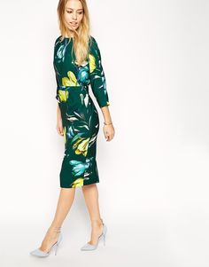 ASOS Wiggle Dress with Wrap Back in Crepe Tulip Print