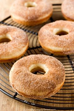 Cinnamon Sugar Donuts - fluffy baked donuts coated with cinnamon sugar. You need to try these! @CrunchyCreamySw