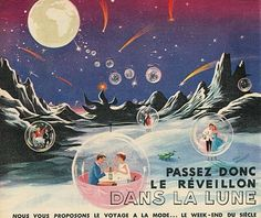 moon travel with champagne bubbles ( by Paul Grimault )