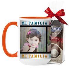 Mi Familia Mi Vida Mi Felicidad Mug, Orange, with Ghirardelli Premium Hot Cocoa, 15 oz, White