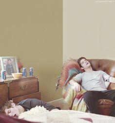 Daniel Sharman (Isaac) and Tyler Posey (Scott) sleeping on the set of Teen Wolf.