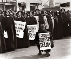 "At Fordham University in New York, Catholic nuns demand federal action after protesters were attacked by state police in Selma, Alabama, the ""Bloody Sunday"" of 1965."