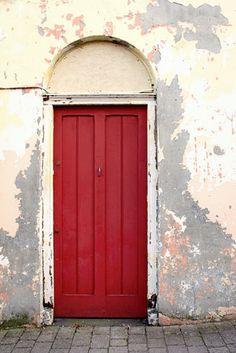 Red Door Photograph Ireland Door rustic alley bright red gray grey white cream sand vintage red door