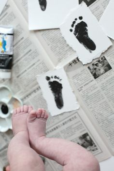 Baby Feet Imprint DIY http://decor8blog.com/2014/04/15/baby-feet-imprint-diy/