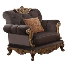 Acme Furniture Orianne Collection 53797 40 Inch Chair with Removable Full Foam Seat Cushions, Accent Pillow, Queen Anne Legs, Charcoal Fabric Upholstery and Poly Resin Scrolled Molding Trim in Antique Gold Finish Living Room Chairs, Living Room Furniture, Living Rooms, Gold Sofa, Traditional Chairs, Traditional Furniture, Acme Furniture, Italian Furniture, Luxury Furniture