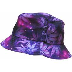 Purple Weed Leaf Marijuana Galaxy Print Bucket Hat ( 18) ❤ liked on  Polyvore featuring. Chapéu De BaldeChapéu ... 63062f63d2a