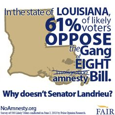 61% of LA voters oppose S.744 the Gang of Eight #immigration bill according to a new poll conducted on June 3.