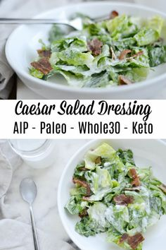 Caesar Salad Dressing (AIP/Paleo/Whole30/Keto) Low Carb Salad Dressing, Homemade Caesar Salad Dressing, Salad Dressing Recipes, Salad Dressings, Paleo Sauces, Paleo Recipes, Cooking Recipes, Savory Salads, Low Carb Diet