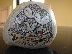 Owl family Stone art By Mellody Design