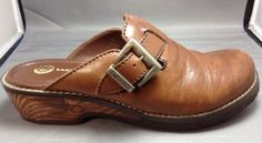 Earth Shoe Clogs 9 Womens Pine 2 Leather Mules Buckle Brown